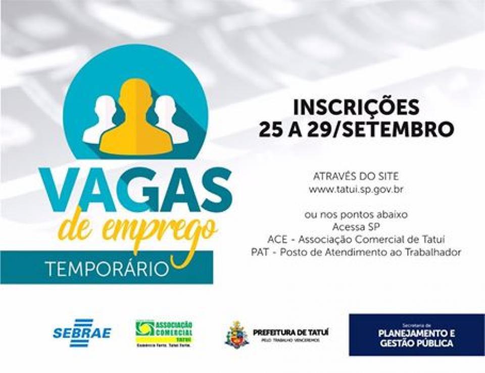 PREFEITURA OFERECERÁ INSCRIÇÕES PARA VAGAS DE EMPREGO TEMPORÁRIO
