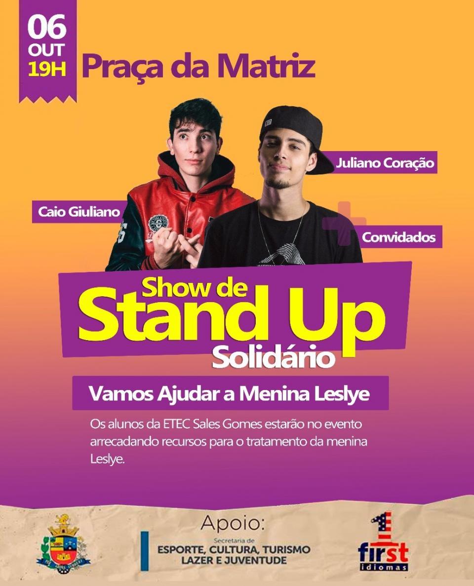 PRAÇA DA MATRIZ TERÁ SHOW DE STAND UP SOLIDÁRIO NESTA SEXTA-FEIRA