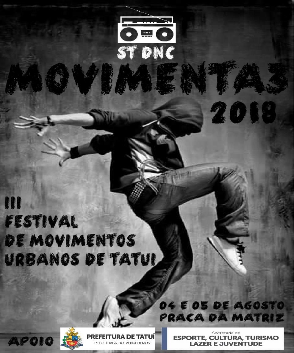 3º FESTIVAL DE MOVIMENTOS URBANOS DE  TATUÍ ESTÁ COM INSCRIÇÕES ABERTAS