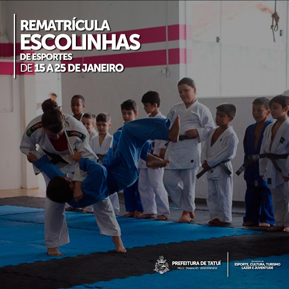 ESCOLINHAS DE ESPORTE DA PREFEITURA ESTÃO  COM REMATRÍCULAS E MATRÍCULAS ABERTAS